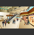 scene inside shopping mall vector image