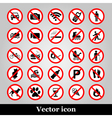 Set ban icons Prohibited symbols red circle signs vector image vector image