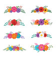 set floral ornaments isolated on white vector image
