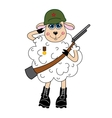 Sheep in a helmet and with gun character vector image vector image