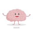 smart brain cartoon character isolated on white vector image vector image