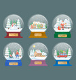 snow globes with christmas themed toys vector image vector image