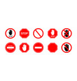 stop sign icon ban for traffic car on road red vector image