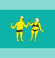summer funny cartoon man and woman in swimsuit vector image
