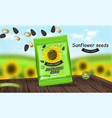 sunflower seeds package realistic product vector image vector image