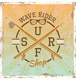 surfing colored vintage round emblem vector image vector image