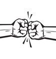 two clenched fists bumping together vector image vector image