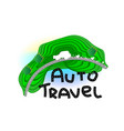 white funny car traveling through the mountains vector image vector image