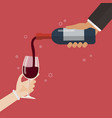 wine pouring in wineglass vector image