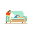 young man sitting on the sofa and sleeping vector image vector image