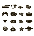 Black Bakery Icons Set vector image