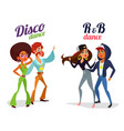 two cartoon couples dancing dance in disco vector image