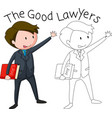 a doodle lawyer character vector image