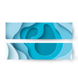 abstract blue paper cut background with liquid vector image vector image