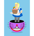 Alice in Wonderland and Cheshire Cat Old fat woman vector image vector image