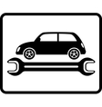 auto service icon with retro car and wrench vector image vector image