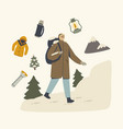 backpacker male character in warm clothes enjoying vector image