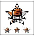 basketball ball all star badge logo vector image vector image
