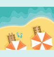 beach with people lying on sun loungers vector image vector image