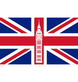 Big ben on background of Great Britain flag vector image vector image