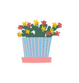 blooming house plant growing in flowerpot design vector image vector image
