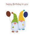 card with cute gnomes vector image vector image