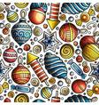 cartoon cute hand drawn xmass seamless pattern vector image vector image