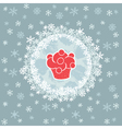 Christmas and New Year round frame with cupcake vector image vector image