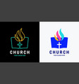 church logo open bible and holy spirit fire vector image