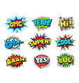 comic book sound effects speech bubbles vector image vector image