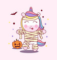 cute unicorn use mummy costume in halloween party vector image vector image