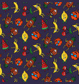 dark crazy fruit pattern vector image vector image