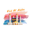 eid al adha muslim holiday banner with mosque vector image vector image