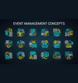 event management planning neon light concept vector image vector image