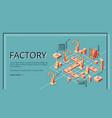 factory conveyor belt landing page robotic arms vector image vector image