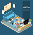 family isometric leisure playing composition vector image
