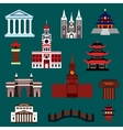 Famous world landmarks flat icons vector image