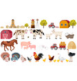 farm big set collection village animals vector image vector image