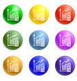 finance graph icons set vector image vector image