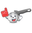 foam finger pizza cutter knife isolated on mascot vector image vector image