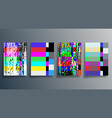 glitch texture design background set for poster vector image