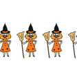 halloween witch wearing face mask seamless vector image vector image