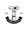 hand chef throw pizza dough logo vector image