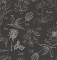 Hand drawing seamless pattern of flowers Iris vector image vector image