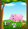 happy animals cartoon on the field vector image vector image
