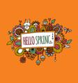 Hello Spring Hand Drawn Doodle Orange vector image