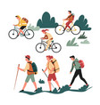 hiking walking and riding bicycle family active vector image vector image