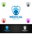 house cross medical hospital logo for emergency vector image vector image