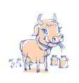 Isolated funny sketch cow for milk product