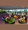 kids playing car in a theme park vector image vector image